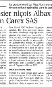 Les Echos - Le carrossier niçois Albax reprend le parisien Carex SAS