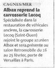Nice Matin - Albax reprend la carrosserie Lecoq