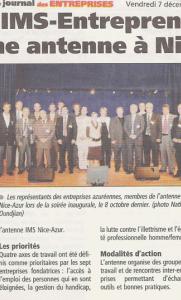 Journal Des Entreprises - Réseau : IMS-Entreprendre ouvre une antenne à Nice
