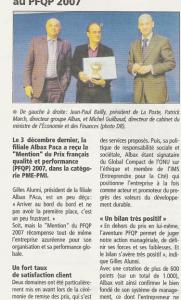 Journal des Entreprises - Albax : Mention PME-PMI au PFQP 2007
